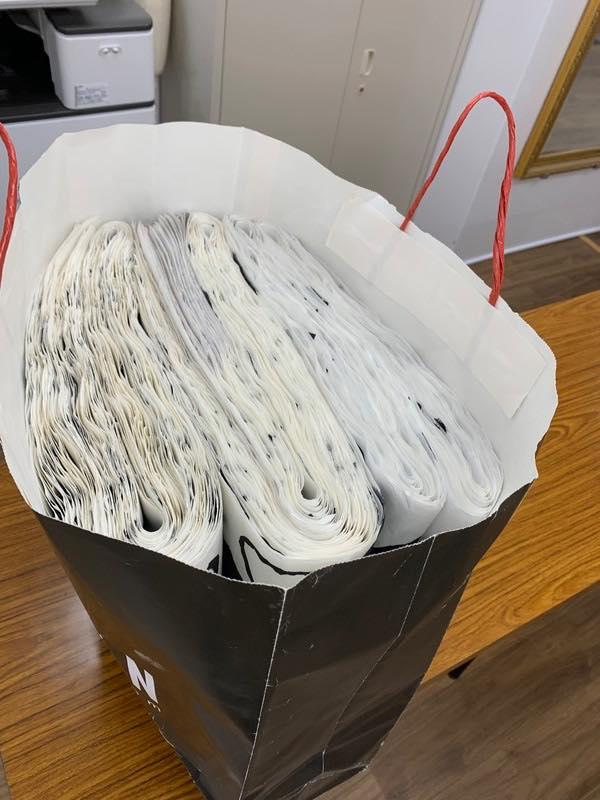 明治神宮新春書道展・学生書法展の作品、今日本部に持ち込みました